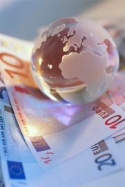 Glass Globe on Euro Notes