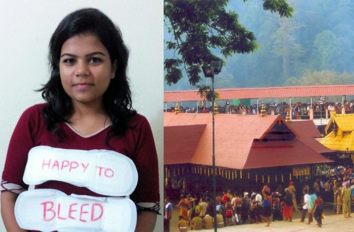 Nikita Azad with #HappyToBleed and the Hindu Sabarimala temple in Kerala